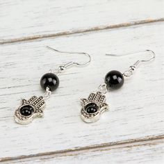 Featured Stone: Black Onyx Hamsa represents power, blessings, and strength, allowing you to discover yourself and manifest your dreams. Hamsa, Black Onyx, Stud Earrings, Jewelry, Collection, Products, Fatima Hand, Hands, Jewlery