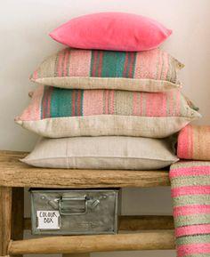 Kristina Stöckel by Landpartie München – Fabrics and Carpets Station Restaurant, Textile Patterns, Textiles, Color Pop, Colour, Cushion Pillow, Bench With Storage, Striped Fabrics, Office Ideas