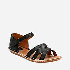 Tustin Sahara Black Leather - Clarks® Sandals for Women - Clarks® Shoes