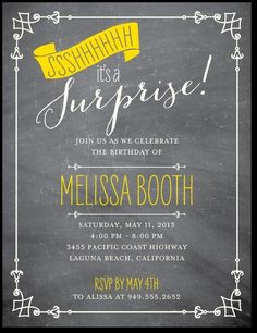 Ornate Suprise Chalkboard invitation | Wiley Valentine for Tiny Prints