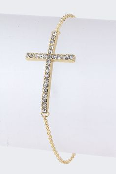 golden crystal cross bracelet