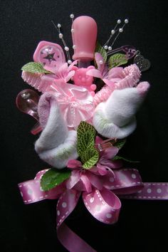 Baby Shower Corsage /Baby Girl Bootie Corsage /New by NonisNiche