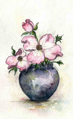 Dogwood Flowers Watercolor