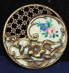 LARGE EMAUX PEINTS ENAMEL  BUTTON RARE PIERCED AND STAMPED BRASS