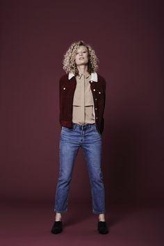 Cord jacket, £18, Primark; jeans, £24.99, New Look; shirt, £55, Topshop; flats, £35, M&S