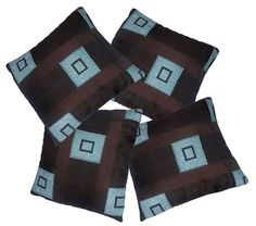4 Pack Chocolate & Duck Egg Square Pattern Woven Tapestry Fabric Cushion Cover