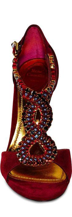 Miss Millionairess: RENE CAOVILLA red evening sandals (shoes)