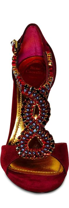 Zapatos de mujer - Womens Shoes - Miss Millionairess:  RENE CAOVILLA red evening sandals (shoes)