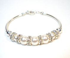 Swarovski Pearl and Sterlings Silver Bracelet, Plus Size Wedding Jewelry, Bridal Accessories, Bridesmaid Gifts