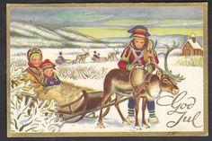 Julekort George Schumann - Same og rensdyr. Utg Børrehaug brukt 1960
