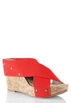 These would be cute and comfortable for the summer. Cato Fashions Stretch Crossband Cork Platform Wedges #CatoFashions