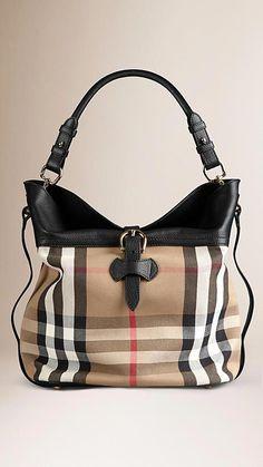 d9d472d595 Black Medium Buckle Detail House Check Hobo Bag - Image 1  Burberryhandbags  Parfums