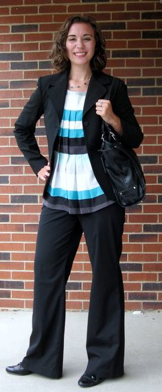 Interview Outfit: Blazer- Limited (Goodwill); Blouse- NY & Company; Slacks- Express; Shoes- JC Penney; Tote- a.n.a. (Kohl's)