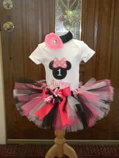 Minnie Mouse First Birthday Tutu and Onesie by LadyBugsDragonflies, $49.99