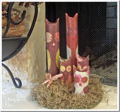 Owls Craft from TP & Paper Towel Rolls from Inspired by... up cycling #craft #upcycle