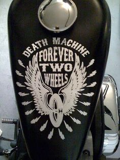Death Machine - Forever Two Wheels. Epic tank paint work.