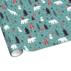 Polar Bear Friends Pattern Christmas Gift Wrap // By Origami Prints #holiday #wrapping #paper