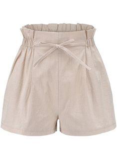 Beige Ruffle Casual Lace Up Basic Shorts Women Summer Casual High Stylish Elastic Waist Girl Shorts Plus Size Bow Shorts, Basic Shorts, High Waisted Shorts, Casual Shorts, Girl Shorts, Loose Shorts, Como Fazer Short, Polyester Material, Spandex
