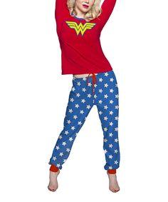 This Red & Blue Wonder Woman Pajama Set - Women by Undergirl is perfect! #zulilyfinds