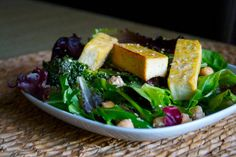 Tofu broccoli salad with warm sesame chili dressing