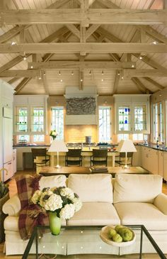 Neutral Design - Design Chic - what an amazing space - love the wood beams!