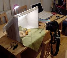 light box for staging food photography