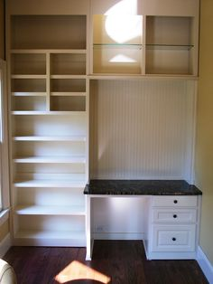 """neat idea for the kids' rooms - closet transformation or """"built-in"""" along the wall..."""