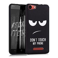 kwmobile Cover per Wiko Lenny 2 - Custodia in silicone TPU - Back case protezione posteriore per cellulare Design Don't touch my phone bianco nero