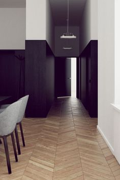 How about a chevron design of our wood planks? Sleek interior with fantastic chevron floor NordicDesign Interior Architecture, Interior And Exterior, Floor Design, House Design, Chevron Floor, Black And White Interior, Black White, Dark Interiors, Design Moderne