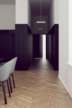 I always like the combination of dark wood panneling and plaster. Render by Rzemiosło Architektoniczne.