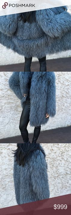 """Mongolian Lamb Real Fur Coat- Amazing! Super fluffy, gently used, beautiful, warm coat.  The color in the photos is accurate. When laid flat it measures: 23"""" from armpit to armpit, across the back, and 26"""" across the hem. (That's me modeling the coat: 5'3"""", 111lbs, size 0-2.). I love this coat, which I bought new, but clearly it is too big for me!  I had hoped that I could just """"make it work"""", but it overwhelms me. Jackets & Coats"""