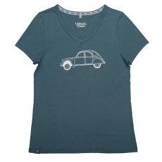 T-shirt 2CV Gris d'eau / Blanc Femme