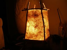 A beautiful handmade paper lamp.  I made it myself out of nothing but cattails and some reclaimed wood.