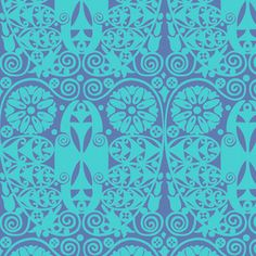 Amy Butler / Soul Blossoms / Temple Doors in Deep Water / Westminster and Free Spirit Fabrics