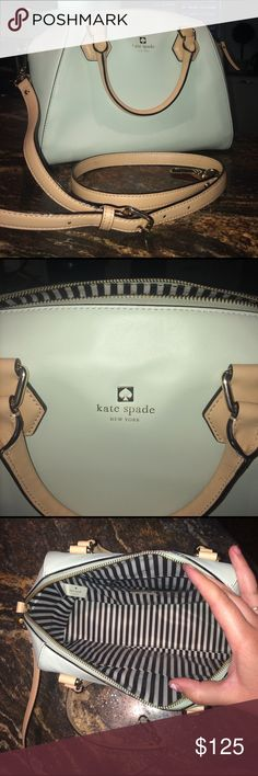 Like New Kate Spade Purse Light mint green purse. Like new condition was a birthday gift from my Ex. Would love for it to go to a great new home. I don't have the tags but it's authentic, the tag price was about $275  selling for less than 1/2 price. Great deal perfect for spring. Strap is adjustable and even comes. kate spade Bags Crossbody Bags