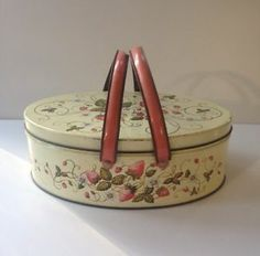 Vintage Strawberry Design Collector Tin with Handles Strawberry Leaf Motif | eBay It originally contained Fruit Cake Cookies from Mary of Puddin Hill