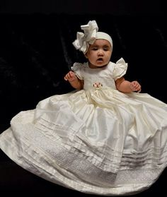 White Silk Christening Gown Baptism Dedication 0 3 by Caremour