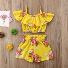 Kleinkind Kinder Baby Mädchen Floral Outfits Kleidung T-Shirt Tops + Pants / Shorts Set Kleinkind scherzt Baby-Blumenausstattungs-Kleidungs-T-Shirt Tops + Pants / Shorts Set Girls Summer Outfits, Dresses Kids Girl, Toddler Outfits, Baby Outfits, Baby Dresses, Short Outfits, Baby Girl Fashion, Fashion Kids, Trendy Fashion