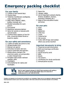September is National Preparedness Month: If a natural or man-made disaster happened tomorrow and you had to evacuate your home, would you know the appropriate items to bring with you? Make sure you're prepared with this Emergency Packing Checklist. Emergency Preparedness Checklist, Emergency Preparation, Emergency Supplies, Disaster Preparedness, Survival Prepping, Packing Checklist, Emergency Kits, Survival Gear, Emergency Planning