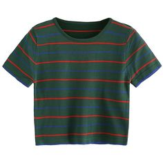 SweatyRocks Women's Short Sleeve Striped Crop T-Shirt Casual Tee Tops (€8,01) ❤ liked on Polyvore featuring tops, t-shirts, stripe tee, green tee, green top, crop tee and short sleeve t shirt