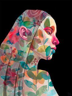 Revealing Struggles and Joy, Expressive Portraits Are Superimposed onto Watercolor Foliage | Colossal Portrait Au Crayon, L'art Du Portrait, Portraits Illustrés, Creative Portraits, Painting Inspiration, Art Inspo, Colossal Art, Illustrations, Watercolor Portraits