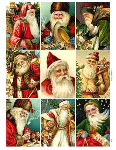 Victorian Father Christmas Digital Collage Sheet di GalleryCat