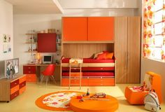 Flowers Curtains in Orange Girls Bedroom - Home Design Ideas - 3121  Where to buy this fabric-curtain????