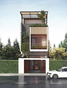 Modern House Design Long Span Building 50 Narrow Lot Houses that Transform A Skinny Exterior Into Flat House Design, Narrow House Designs, Bungalow House Design, House Front Design, Minimalist House Design, Modern House Design, Futuristisches Design, Facade Design, Exterior Design