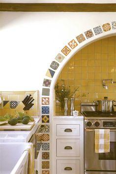 Kitchen in a Spanish revival hacienda