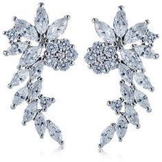 Diamonique 3.2ct tw Cascading Flower Earrings Sterling Silver qvc - I want!!!