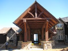 timber frame homes designs | Rand Soellner timber frame design nearing completion in Highlands, NC ...