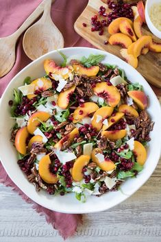 Lower Excess Fat Rooster Recipes That Basically Prime Arugula Peach Salad With Pomegranates And Pecans Dressed With A Maple Syrup Vinaigrette Is The Perfect Fairwell To Summer. Large Salad Bowl, Salad Bowls, Soup And Salad, Big Bowl, Baked Camembert Bread, Ripe Peach, Arugula Salad, Salad Ingredients, How To Make Salad