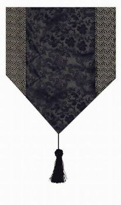 "Gorgeous Oriental Brocade Table Runner DRAGON (BLACK) by Asian Home. $12.45. Refresh your home decor with the enchantment of this oriental brocade table runner. It has decorative tassels on both end.Dimensions:W11.5"" x L87"" (Including tassels, tassel measures 7.5"" for each end)"