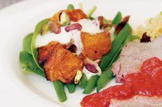 Roasted sweet potato & spinach salad with lemon yoghurt dressing